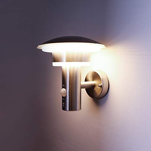 NBHANYUAN Lighting® LED Außenlampe mit Bewegungsmelder und Dämmerungsschalter Aussenwandleuchten Silber...