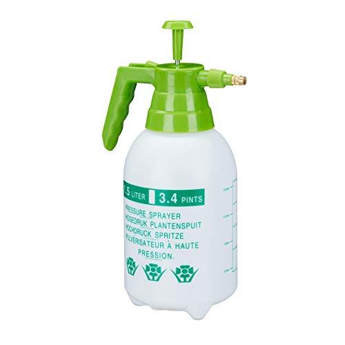 Relaxdays, weiß/grün Drucksprüher, 1,5 Liter, einstellbare Messingdüse, Garten, Bewässerung,...
