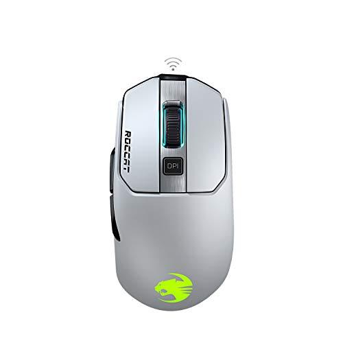 Roccat Kain 202 AIMO RGB Gaming Maus (16.000 DPI Owl-Eye Sensor, Kabellos, Titan Click Technologie), weiß