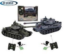 s-idee® 01919 2 x Battle Panzer 1:28 German Tiger T-34 mit integriertem Infrarot Kampfsystem 2.4 Ghz RC R/C...