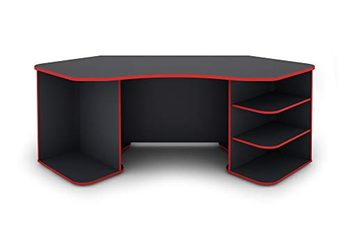 Homexperts Schreibtisch, Anthrazit - Rot, 198x76x85cm (BxHxT)