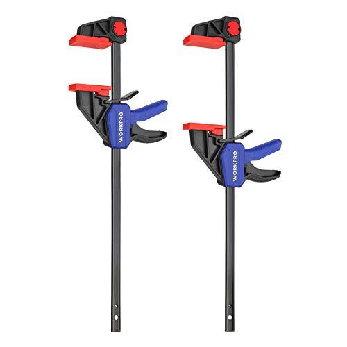 WORKPRO Einhandzwingen Set 2 Stück Schraubzwingen Spanner Stahl und Nylon für präzises Fixieren Spannweite...