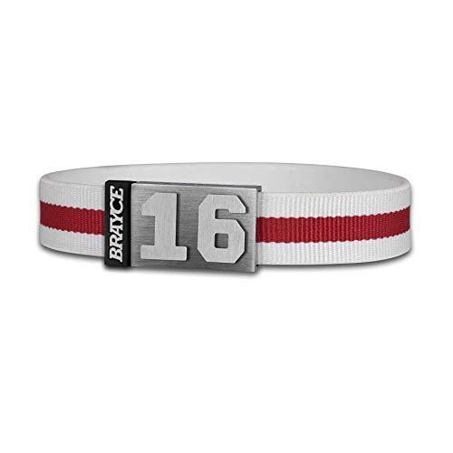 BRAYCE® Trikot am Handgelenk® mit Deiner Trikot Nummer 00-99 I Armband weiß & rot I...