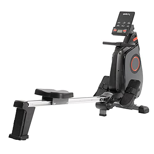 SportPlus Ruderergometer klappbar für zuhause - 24 Stufen & 6 Trainingsprogramme, leises Magnetbremssystem,...