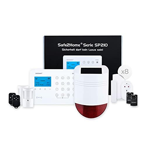 Safe2Home® Funk Alarmanlage Komplett Set SP210 mit Sabotageschutz u Lichtsteuerung - deutsch - GSM WLAN...