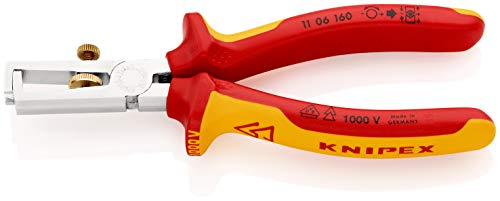 KNIPEX 11 06 160 Abisolierzange verchromt isoliert mit Mehrkomponenten-Hüllen, VDE-geprüft 160 mm