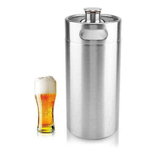 Mini Edelstahl Bierfass Growler Keg tragbares Bier Basteln Fass mit Spiraldeckel für Heimbrauen Hotelbar...
