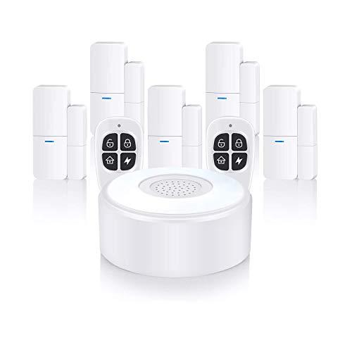 Home Alarm System Wireless, Komplette Alarmanlage mit 1 Sirene, 5 Fenster Tür Sensoren und 2 Fernbedienungen...