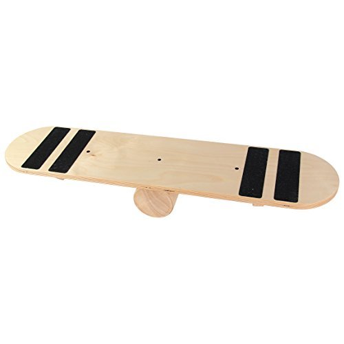 POWRX Balance Skate-Board Surf-Board aus Holz I Balance Trainer Balancierbrett I Ideal für Kraft- und...