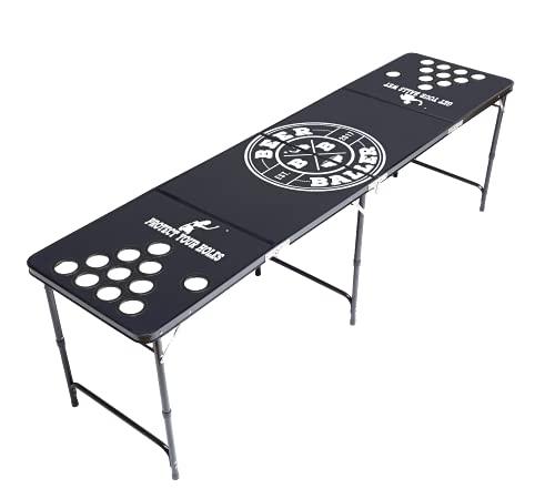 BeerBaller® ALLBLACK Beer Pong Tisch mit Löcher - schwarzes Gestell und Kratzfeste Oberfläche | Klappbarer...