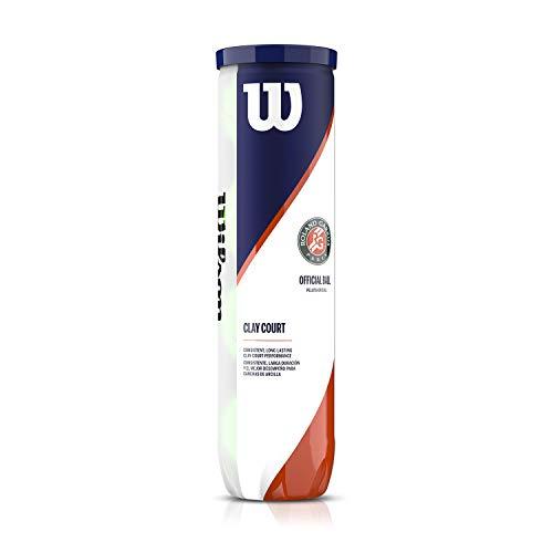 Wilson Offizielle Roland Garros Tennisbälle, Tennisballdose á 4 Bällen, Für Sandplätze geeignet,...