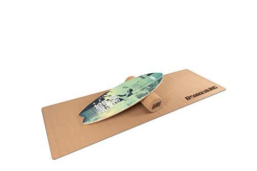 Indoorboard Wave Set Balance Board Skateboard Surfboard Balanceboard (Green, 150 mm x 45 cm (Korkrolle))