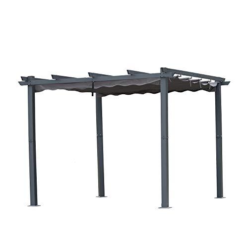 Angel Living Pergola aus Aluminium in anthrazit, Dachrohre aus Stahl, Verstellbares Dach aus Polyester (3x3m,...