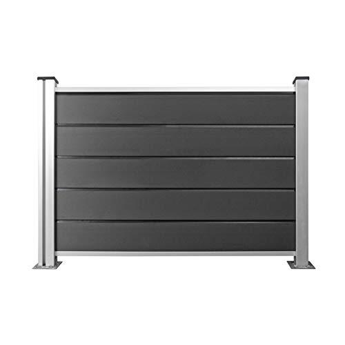 Hori® WPC-Zaun Design I Sichtschutz-Zaun, Steckzaun, Gartenzaun Komplettset I 1x Niedrig + 1x Pfosten klein I...