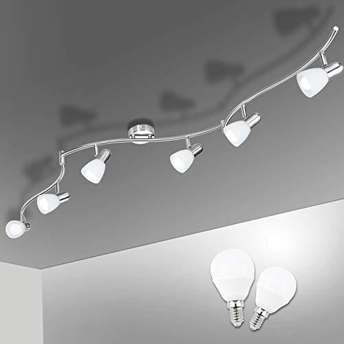Bojim LED Deckenstrahler 6 Flammig, Inkl. 6x Leuchtmittel E14 6W 470 Lumen, Warmweiß 2800K Wohnzimmerlampe...