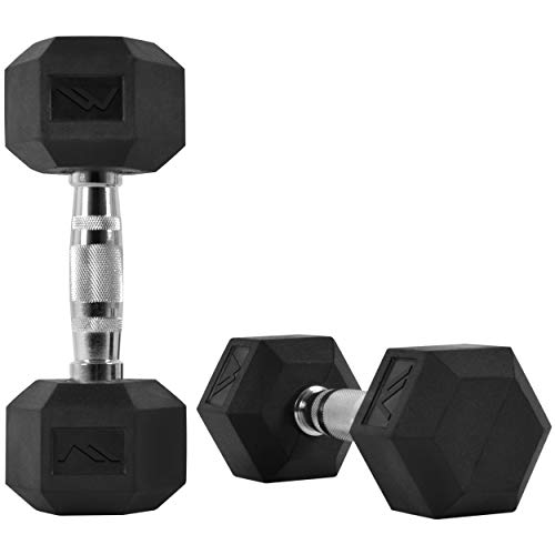 MSPORTS Hexagon-Hanteln Premium (Paar) | 5-30 kg | rutschsicher ummantelt | ergonomische verchromte Griffe |...