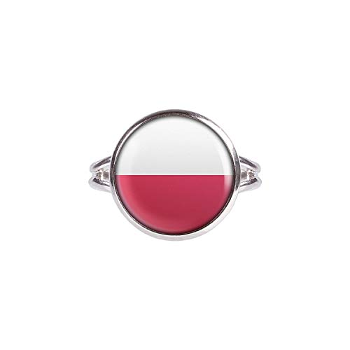 Mylery Ring mit Motiv Polen Polska Flagge Silber 14mm