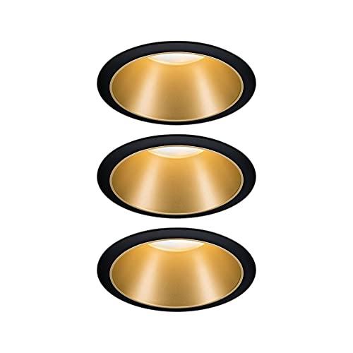 Paulmann 93404 LED Einbauleuchte Cole rund incl. 3x6,5 Watt dimmbar Einbaustrahler Schwarz, Gold matt...