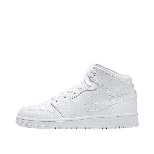 Nike Herren AIR Jordan 1 MID (GS) Basketballschuh, White/White-White, 40 EU
