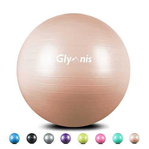 Glymnis Gymnastikball Sitzball 55cm 65cm 75cm Dicker Pilates Ball inkl. Luftpumpe Anti-Burst Yoga Ball...