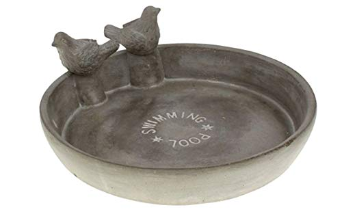 Bada Bing Hochwertige Vogeltränke Aus Zement Ca. 25 X 10,5 x 2 cm Mit Zwei Vögel Swimming Pool Beschichtete...
