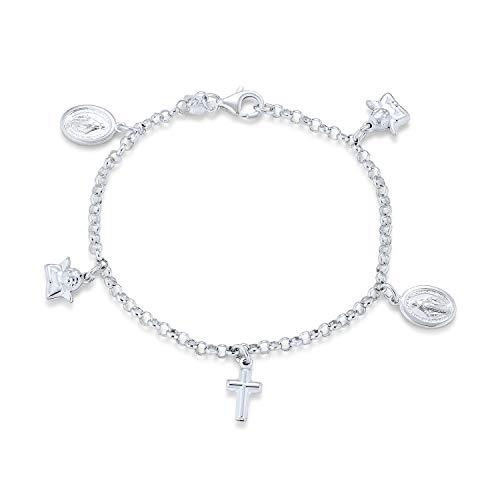 Multi Charm Kreuze Jungfrau Maria Winkel Cherub Religiöse Baumsche Knöchel Knöchel Armband Für Frauen 925...