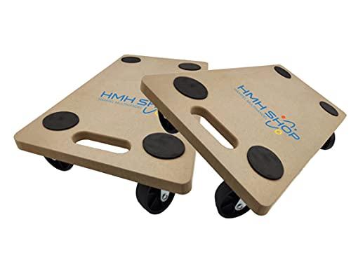 2x HMH® Rollbrett 58x30cm Transportroller MDF Möbelroller Möbelhund Roller bis 200kg