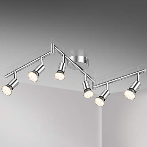 Defurhome LED Deckenleuchte Drehbar, 6 Flammig LED Strahler Deckenlampe Spot,Modern Deckenstrahler (Weißes...