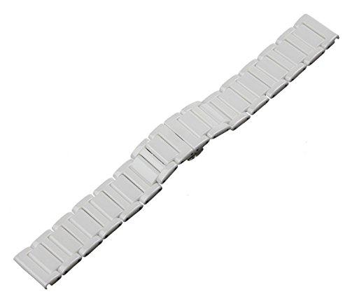 RECHERE 22 mm Keramik Armband Uhrenarmband Faltschließe Farbe Weiß
