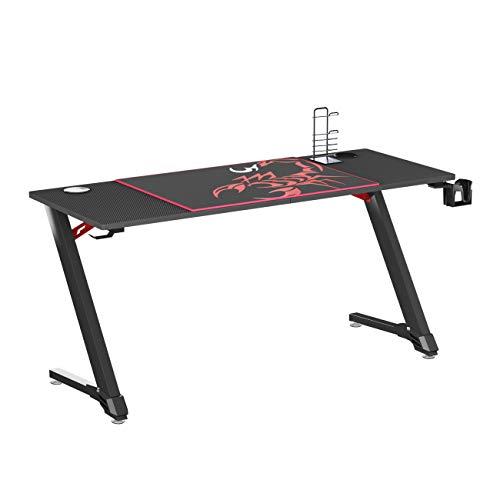 soges Gaming Tisch Computertisch Gamingtisch Gamer Pro Tisch Schreibtisch Desk Z-Form Ergonomischer PC Tisch...