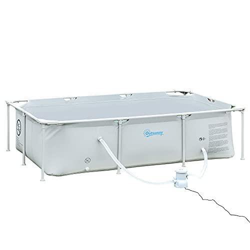 Outsunny Rahmenpool mit Schlauch Draht Swimmingpool Schwimmbad Ablassventil für sauberen Wasser 1000D PVC...