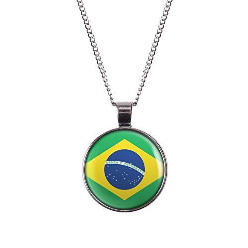 Mylery Hals-Kette mit Motiv Brasilien Brazil Brasília Flagge Silber 28mm