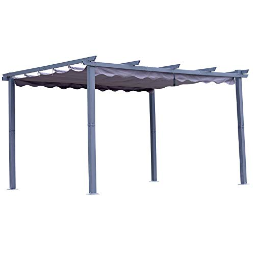 Angel Living Pergola aus Aluminium in anthrazit, Dachrohre aus Stahl, Verstellbares Dach aus Polyester (3x4m,...