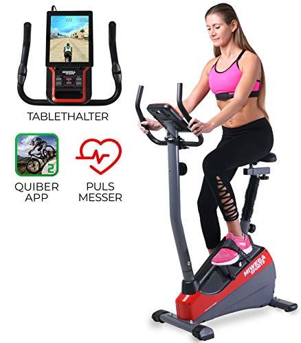 Miweba Sports Ergometer ME300 Trimmrad Cardio Heimtrainer - App Steuerung - 10 Kg Schwungmasse - Pulsgurt -...