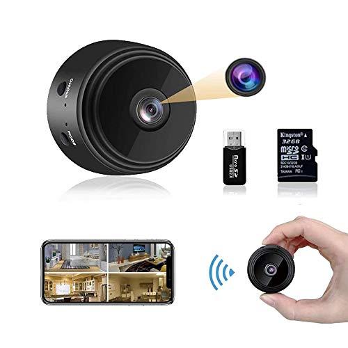 Mini Kamera,1080P HD Mini Überwachungskamera Micro WiFi Akku Kleine Kamera mit Infrarot Nachtsicht und 32G...