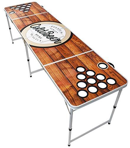 Original Premium Beer Pong Tisch - Wood - inkl. Eisfach, 6 Beer Pong Bälle & Becherhalterung (ohne Becher)