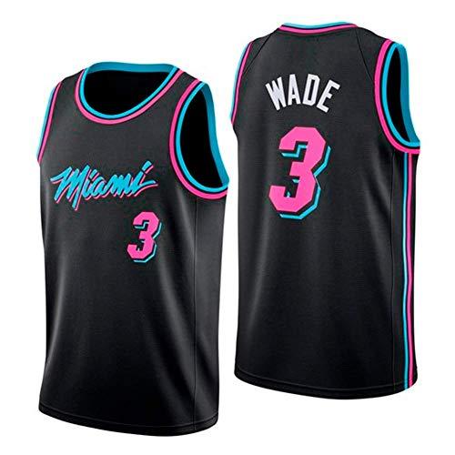 WOLFIRE WF Basketball-T-Shirt für Herren, NBA Miami Heat #3 Dwyane Wade, bestickt, atmungsaktiv und...