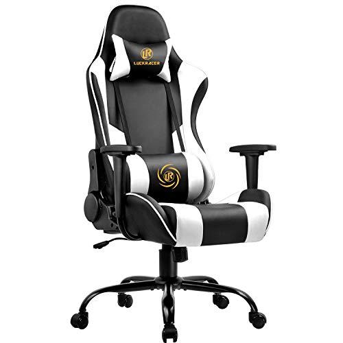 LUCKRACER Gaming Stuhl Bürostuhl Gamer Ergonomischer Stuhl Einstellbare Armlehne Einteiliger Stahlrahmen...