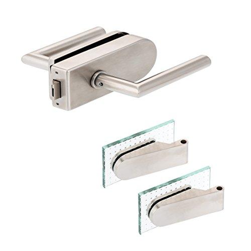Glastürbeschlag 'D' Set UV | V2A Edelstahl matt | inkl. Studiobändern | metallische Innenmechanik | New...