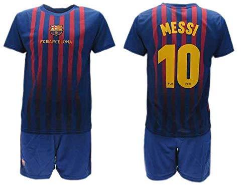 Komplett Offiziell Shirt und Short Fußball Lionel Leo Messi 10 Barcelona Blau Grana Home Saison 2018-2019...