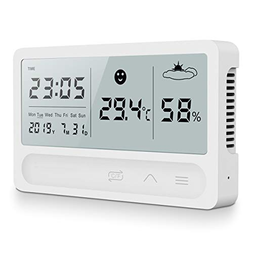 AngLink Digitales Thermo-Hygrometer Innen, 16:9 LCD Breitbild Monitor Tragbares Hygrometer Thermometer mit...
