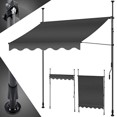 KESSER® Klemmmarkise 300cm x 180cm Anthrazit mit Handkurbel Balkon, Balkonmarkise ohne Bohren, UV-beständig...