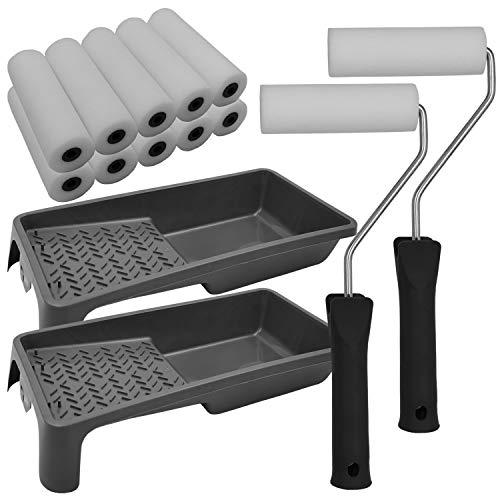 nxtbuy Lackier Set Essential: 2x Farbroller Bügel 2 x Farbwanne 10x Schaumwalzen - Lackierwalze Lackierrolle...