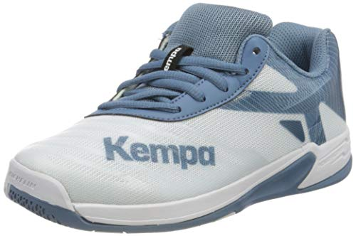 Kempa Unisex Wing 2.0 JUNIOR Handballschuhe, Weiß Steel Blau, 39 EU