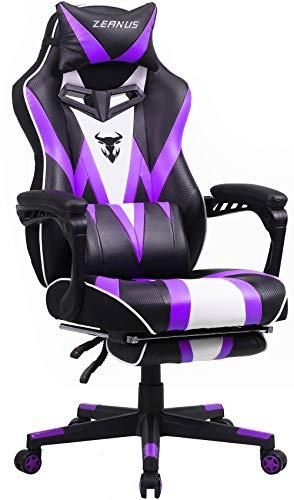 Gaming Stuhl für Erwachsene, Gaming Stuhl mit Massage, Computer Stuhl mit Fußstütze, Ergonomisch Gaming...
