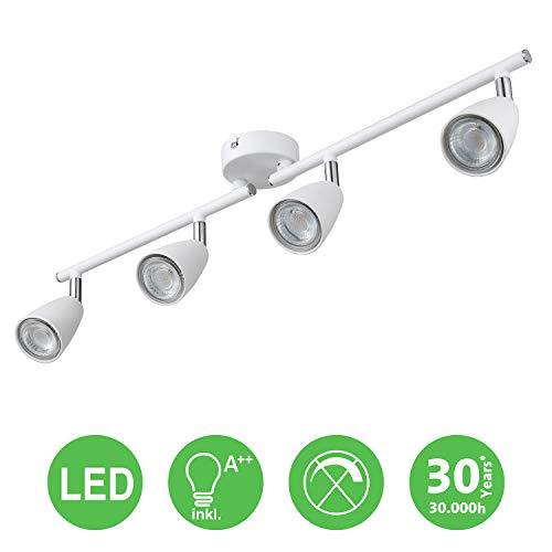 IMPTS LED Deckenleuchte Spotleuchte schwenkbar Weiss 4 Flammig, inkl. 4 x 3W Leuchtmittel GU10 LED,...