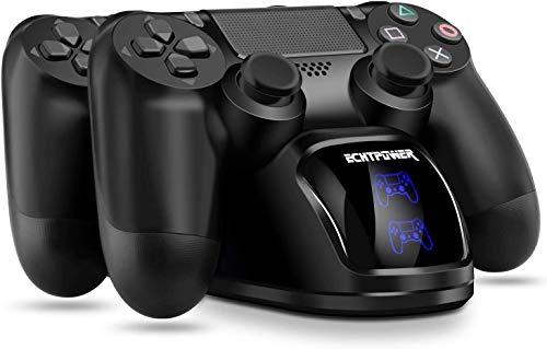 PS4 Controller Ladestation, ECHTPower Dual Dualshock 4 Ladegerät Charger, Doppeltes Schnellladegerät mit LED...