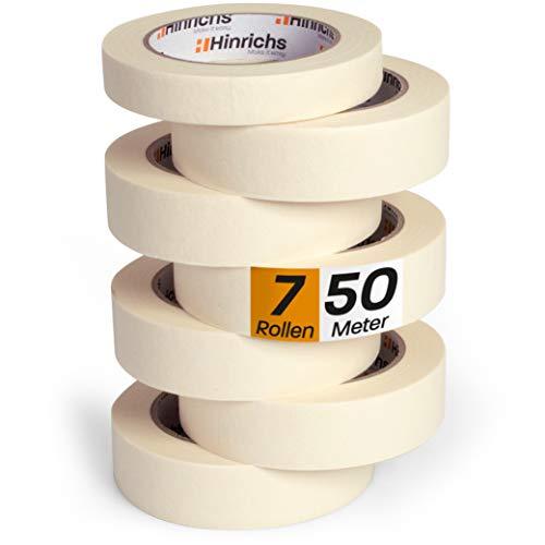 Hinrichs 7 x Kreppband - 6 Rollen 50 m x 30 mm + 1 Rolle 50 m x 19 mm - Malerkrepp für sauberes Abkleben der...