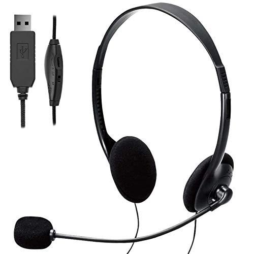 TINGDA USB Headset, PC Headset mit Mikrofon Noise Cancelling & Lautstärkeregler, Computer Chat Headset für...