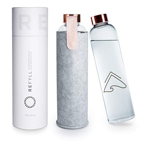 """REFYLL Glasflasche mit Filzhülle """"pureFyll"""" 750ml I Trinkflasche aus Glas mit Schutzhülle 0,75L I..."""